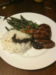 Grilled Tuna w/ Spicy Pineapple Teriyaki Sauce, Grilled Pineappple Salasa, Green Beans, and Sticky Coconut Rice